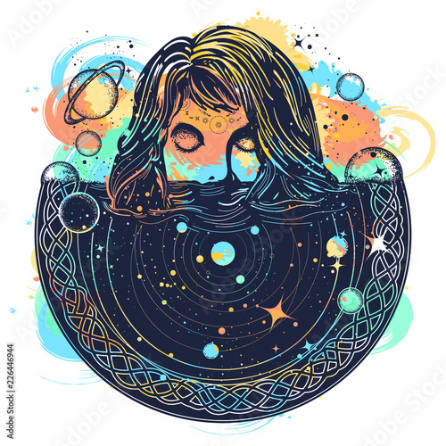 Woman in space tattoo art watercolor splashes style. Surreal girl sinks in universe. Symbol of magic, esoterics, astrology. Goodnes woman and galaxy t-shirt design Wall mural