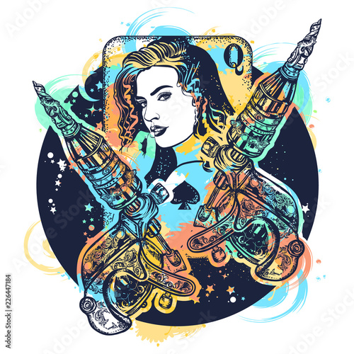 13fa94a85 Girl and сrossed tattoo machine watercolor splashes style. Queen playing  card. Tattoo salon concept