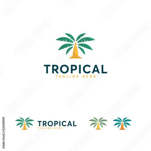Tropical logo designs vector, Palm Tree logo symbol