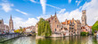 Leinwandbild Motiv Panoramic city view with historical houses, church, Belfry tower and famous canal in Bruges, Belgium.