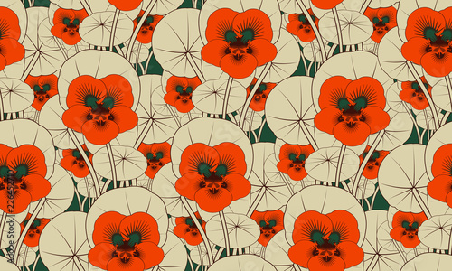 exotic flower field seamless pattern in orange ivory shades