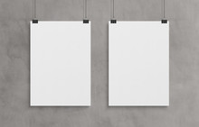 Two Blank White Poster Hanging...