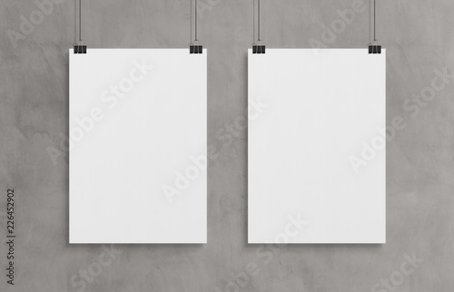 Cuadros en Lienzo Two blank white poster hanging up with clips mockup