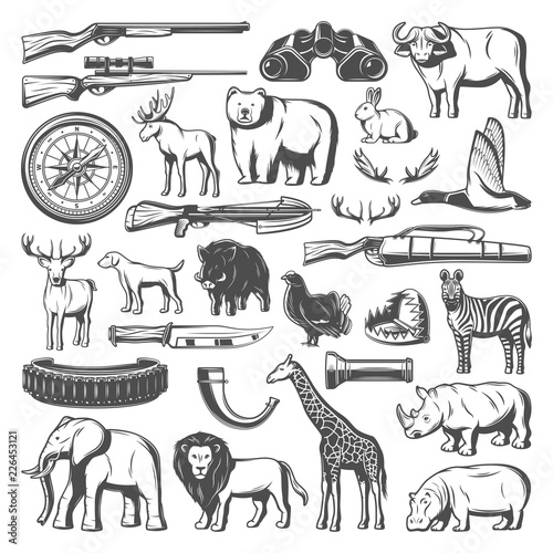 Fotografia Wild animals and hunting equipment icons, vector
