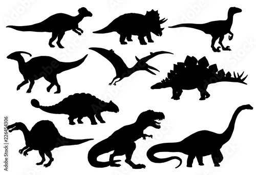Fototapeta Dinosaurs and T-rex monster reptiles, vector