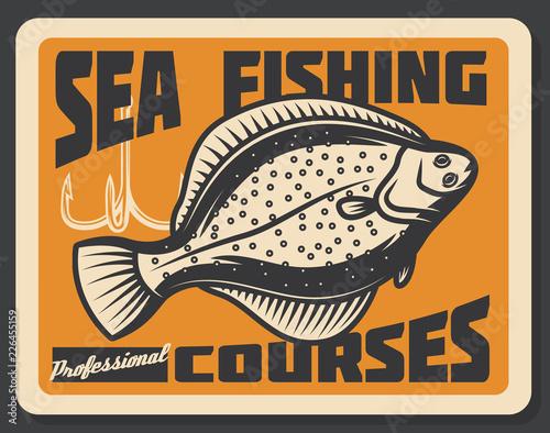 Obraz na plátně Sea fishing courses. Vector flounder