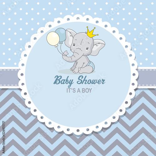 Fototapeta premium baby shower boy. Śliczny słoń z balonami. miejsce na tekst