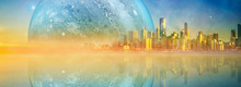 Modern City On Alien Planet Reflecting In Water At Sunset - Fantasy Landscape
