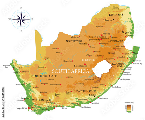 Photo  South Africa physical map