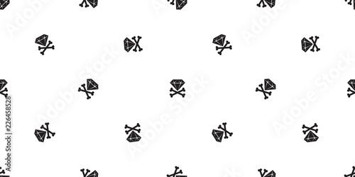Fototapeten Künstlich diamond pirate seamless pattern vector cross bone Halloween skull scarf isolated tile background repeat wallpaper