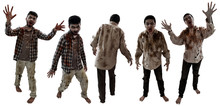 Set Of Zombies Isolated On Whi...