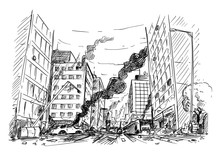 Pen And Ink Sketchy Hand Drawing Of Modern City Street Destroyed By War, Riot Or Disaster.