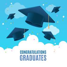 Realistic Detailed 3d Congratulation Graduates Placard Banner Card. Vector