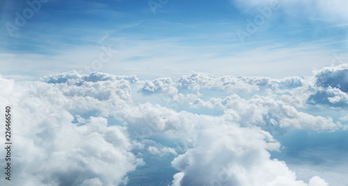 Blue sky and clouds background with lots of copy space. - 226466540
