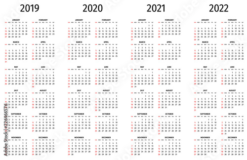 Calendario 2020 Vector Gratis.Simple Calendar 2019 2020 2021 2022 Simple Editable