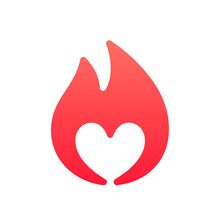 Heart Sign On Fire, Symbol Of Passion, Gradient Colors Simple Icon