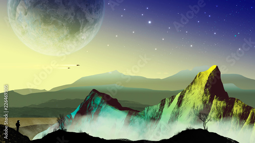 Montage in der Fensternische Khaki Explorer astronaut in sci-fi landscape with planet, mountains and trees. Elements furnished to NASA