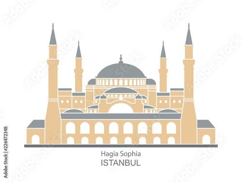 Stampa su Tela Hagia Sophia in Istanbul, Turkey. Vector, illustration.
