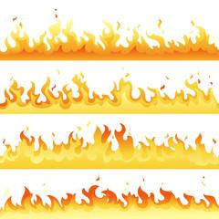 Fire Flame backdrop background set. Horizontal bonfire template for banner, web or brochure explosion decoration