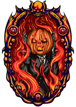 Halloween Scream/ Illustration Halloween Emblem With Pumpkin Head Jack Inside A Frame In A Hell Fire. Imitation The Scream Character