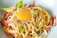 Pasta Carbonara With Bacon And...