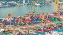 Commercial Port Of Singapore . Bird Eye Panoramic View Of Busiest Asian Cargo Port