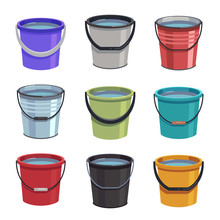 Cartoon Buckets. Water Pails, ...