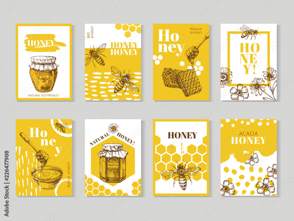 Fototapety, obrazy: Hand drawn honey posters. Natural honey packaging with bee, honeycomb and hive vector design. Illustration of honey and honeycomb, food sweet posters of set