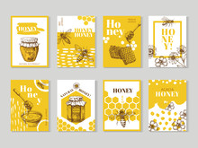 Hand Drawn Honey Posters. Natu...