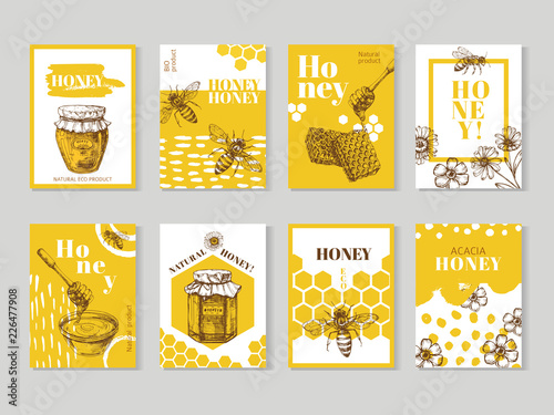 Hand drawn honey posters Fototapet
