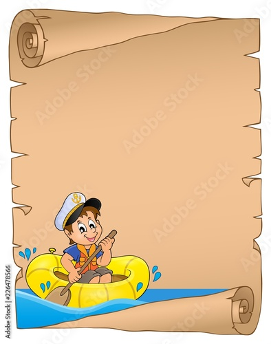 Parchment with boy in boat on water