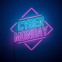 Cyber Monday Background. Neon ...