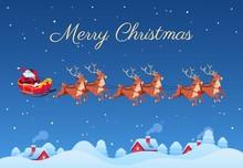 Santa Claus And Reindeers. San...