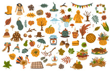 Collection Set  Of Cute Drawn Autumn Fall Thanksgiving Seasonal Items