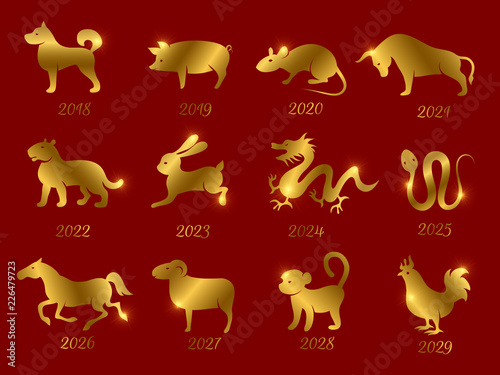 Cuadros en Lienzo Gold chinese horoscope zodiac animals