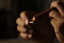 Cuban Cigar Box And Person Smo...