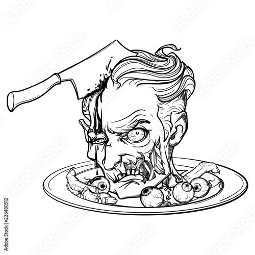 Cartoon Zombie Head Served On A Dish With Eyeballs And Fingers