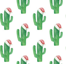 Christmas Cactus Pattern. Green Cacti Background