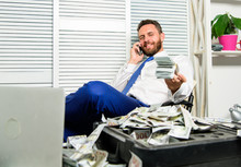 Man Successful Businessman Phone Conversation Ask Service. Businessman Rich Bearded Guy Sit Office With Lot Of Cash Money. Bank Loan Or Credit. Get Cash In Few Minutes. Banking Support Line Concept