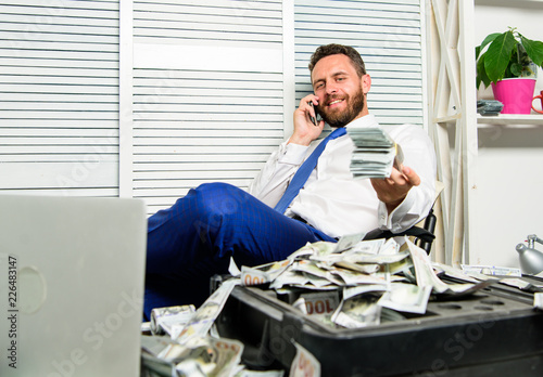 Man successful businessman phone conversation ask service Fototapeta