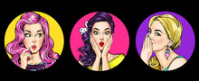 Set Of Amazed Women In Pop Art...