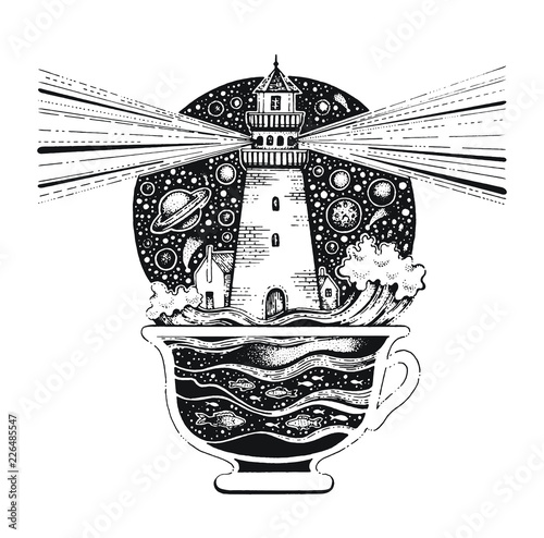 Lighghouse in coffee cup with ocean waves  Black silhouette for t