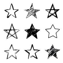 Stars Set, Hand Drawn Sketch, ...