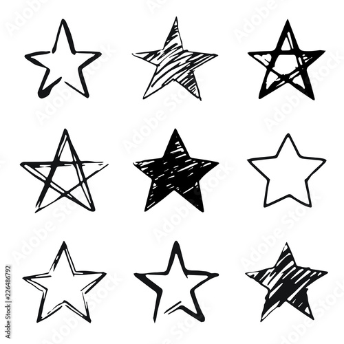 Stars set, hand drawn sketch, doodle vector illustration. Black symbols drawn by brush, pen, ink, Isolated on white background. Cool trendy handdrawn set for logo, textile print, fabric design, card