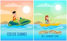 Forever Summer Posters Set Vec...
