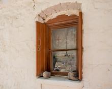 Window Of A Simple Greek Orthodox Church On Lesvos Island