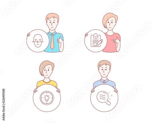 People hand drawn style  Set of Idea, Rfp and Face recognition icons