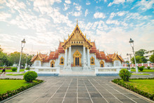 Marble Buddhist Bangkok Wat Benchamabophit Temple Evening Sunset Sky With Cloud