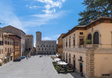 Beautiful Panoramic View Of The Central Town Square Of The Ancient Town Of Todi (Piazza Del Popolo) Umbria, Italy