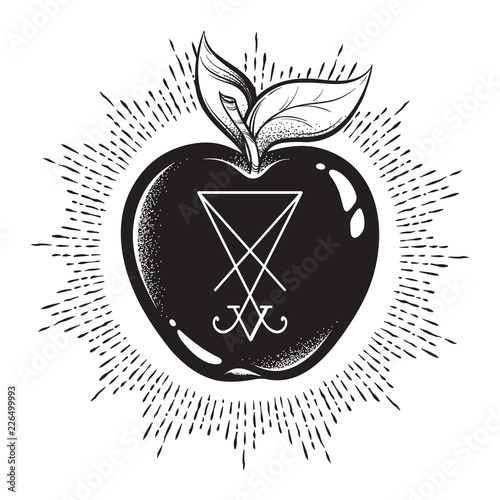 Photo  Forbidden fruit apple from the tree of knowledge with he sigil of Lucifer isolated hand drawn line art and dot work vector illustration